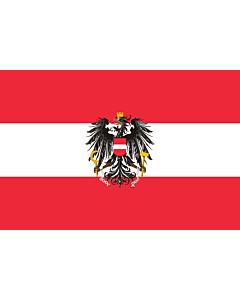 Fahne: Flagge: Dienstflagge der Republik Österreich; Variante mit künstlerisch ausgestaltetem Adler