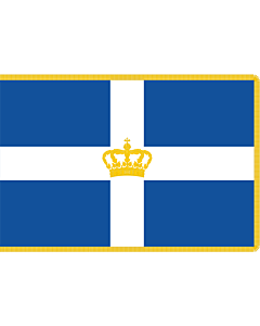 Fahne: Flagge: Hellenic Royal Flag 1935 | State Flag of the Kingdom of Greece with gold fringing as used during the Glücksburg dynasty  1935-1970