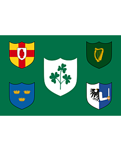 Fahne: Flagge: IRFU   IRFU flag first made public in 1925, comprised of the traditional four provinces of Ireland shields and other older elements