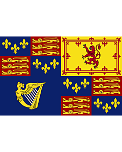 Fahne: Flagge: Royal Standard of Great Britain  1603-1649   Royal Standard of Great Britain  1603-1649, 1660-1689, 1702-1707