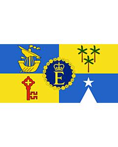 Fahne: Flagge: Royal Standard of Mauritius   Queen Elizabeth II s personal flag for Mauritius   Étendard royal de Maurice